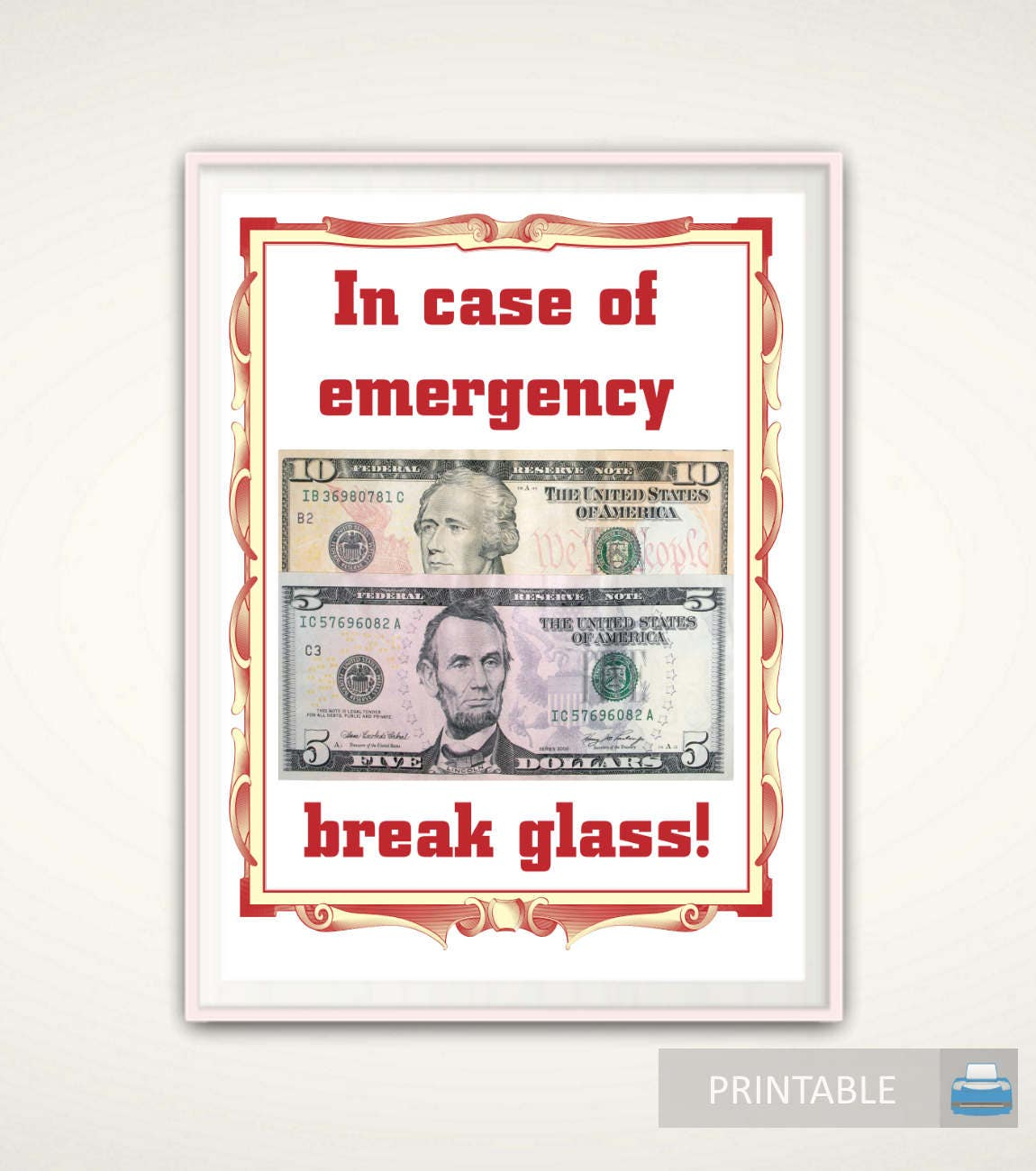 In Case Of Emergency Break Glass Printable Christmas Etsy