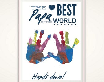 Papa Print - Fathers Day Gift for Papa, Personalized Gifts for Papa, Papa Gifts from kids, Handprint Art, Best Papa PRINTABLE