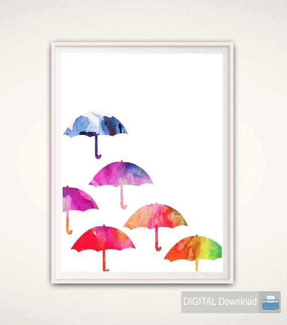 Umbrella Art Print Umbrella Wall Art Nursery silhouette   Etsy