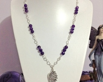 Amethyst necklace with wing pendant
