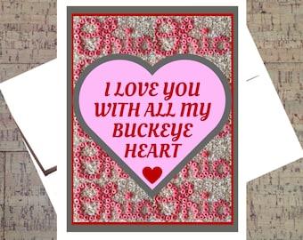 Ohio State Card, Funny I Love You Card, Buckeye Card, Valentine Card, I Love You Card, Anniversary Card, OSU Card, Funny Valentine Card