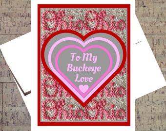 Ohio State Card,Funny I Love You Card, Buckeye Card, Valentine Card,  Funny Valentine Card, I Love You Card, Anniversary Card, OSU Card