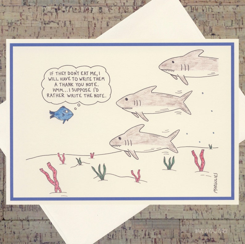 Funny Thank You Card Cute Gratitude Card Humor Card Shark image 0