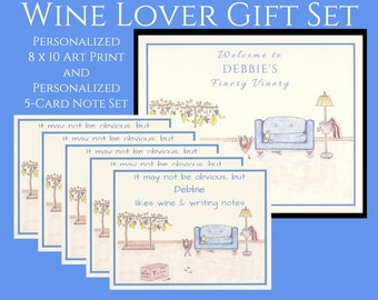 Personalized Wine Gifts, Wine Gift, Personalized Gift Set, Wine Lover, Wine Cards, Gift Sets, Personalized Stationery, Personalized Gifts