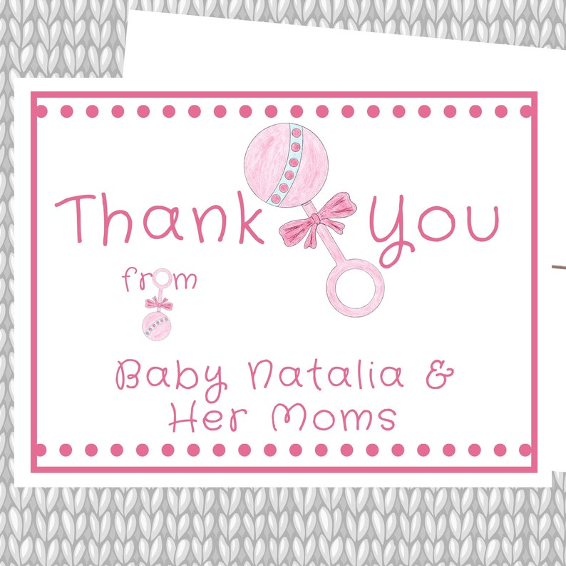 Baby Thanks Lesbian Moms Baby Girl Thank You Baby Boy Thank You Gender Neutral Cards Baby Rattle Baby Stationery LGBT Baby Two Moms