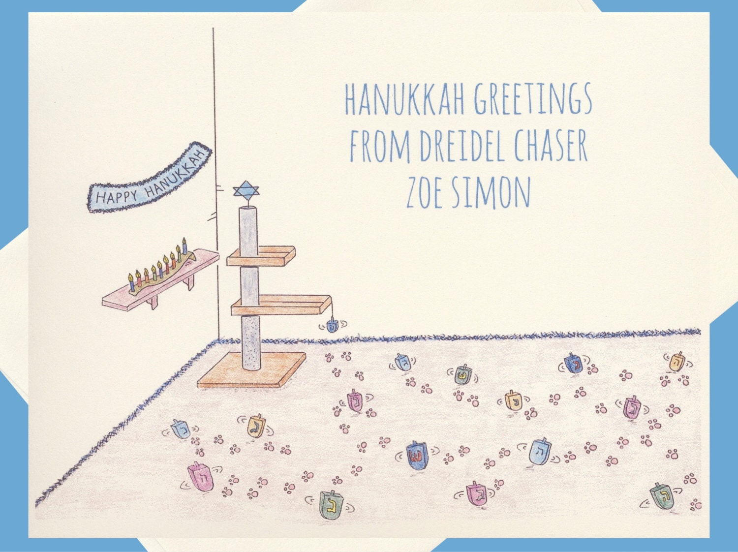 Hanukkah Cards Personalized Holiday Cards Cat Cards Jewish Etsy
