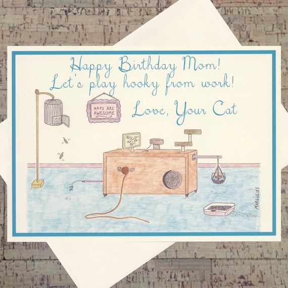 Admirable Cat Birthday Card Mom Birthday Card Mother Birthday Card Etsy Personalised Birthday Cards Bromeletsinfo