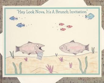 Judaica, grappige voedsel kaart, Foodie Card, Food kaart, Brunch Card, Card, Joodse Card, Judaïca kaarten, eten vissen Card, grappig eten kaart