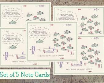 Christmas Card Set, Funny Holiday Card Set, Holiday Card Set, Holiday Cards, Funny Christmas Cards, Xmas Card Set, Fish Card, Note Card Set