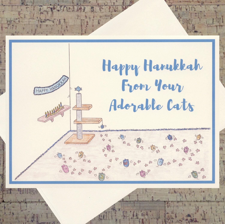 Cat Card Funny Hanukkah Card Hanukkah Card Jewish Card Cat Etsy