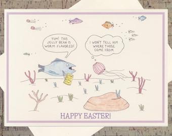 Easter Card, Easter Greeting Card, Easter Greetings, Funny Easter Card, Happy Easter Card, Cute Easter Card, Jelly Bean Card, Jellyfish Card