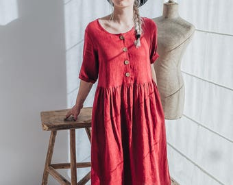 84b0db90bd8 Red Linen Dress with Short Sleeves