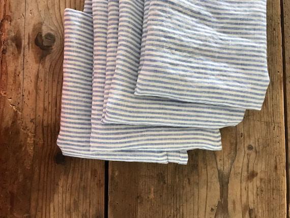 4668528d80a3 Set of Three Blue Striped Towels Linen Dish Towels Linen