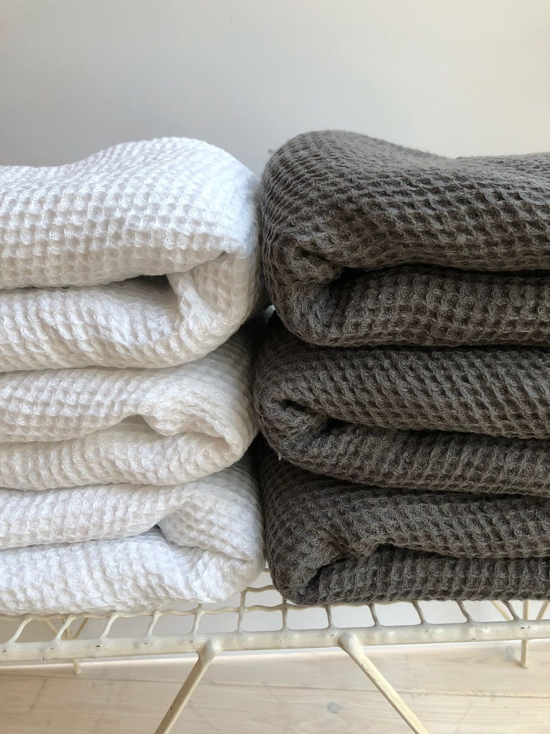 White Linen Bath Towel Waffle Large Towel Bath Towel Etsy