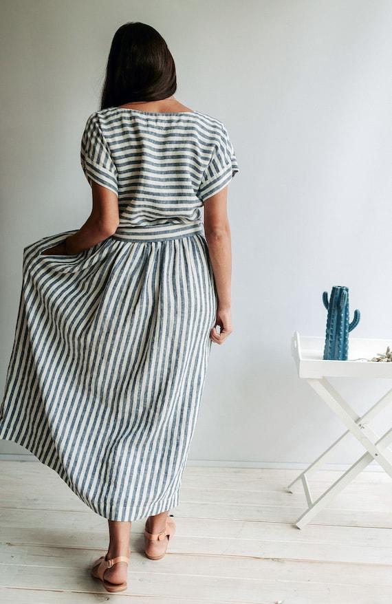 Robe d/'été lin size plus Tunique Vacances coiffe fleurs-Motif Bleu L Xl 2xl