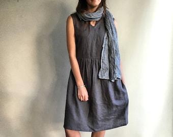 Grey Sleeveless Linen Dress, Linen pinafore dress, Loose dress, womens dress, linen dresses for woman, dress with v neck and pockets, jumper