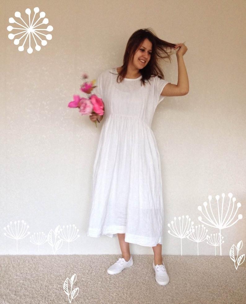 72a708f3b202 White Linen Dress with Sleeves Light Linen Summer Dress with