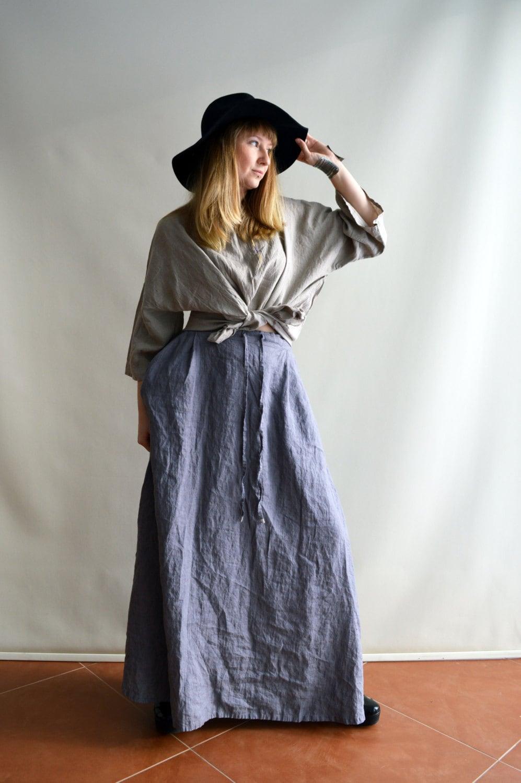 Linen Maxi Skirt Boho With Pockets Womens Etsy Lovly Sqaa