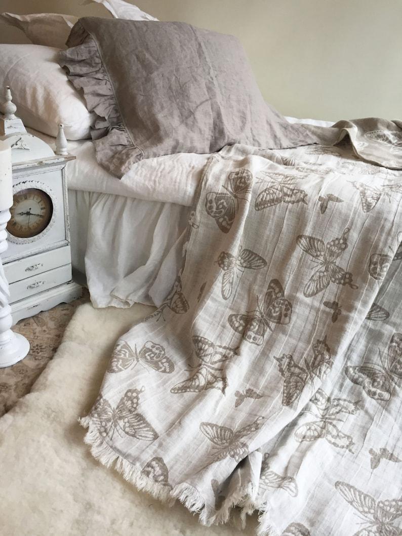 Die Bettwäsche Werfen Mit Schmetterlingen Romantische Etsy