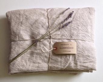Linen sheet, flat linen sheet, softened linen sheet, pure linen upper sheet by Linenbee