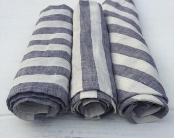 Linen napkins, Set of four white and blue striped napkins, cloth napkins, set of napkins by Linenbee