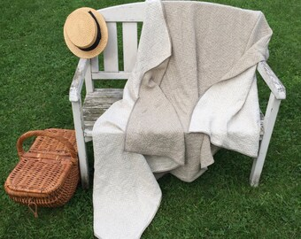 Linen Blanket, Two sided Linen Throw, Woven Stonewashed Linen Bed Cover by Linenbee