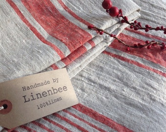 Linen tablecloth, French country red striped table cloth, square tablecloth, rectangle oval rustic table, country tablecloth, linen