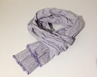 Free Shipping Blue Striped Linen Scarf for Men, Softened Linen scarf by Linenbee