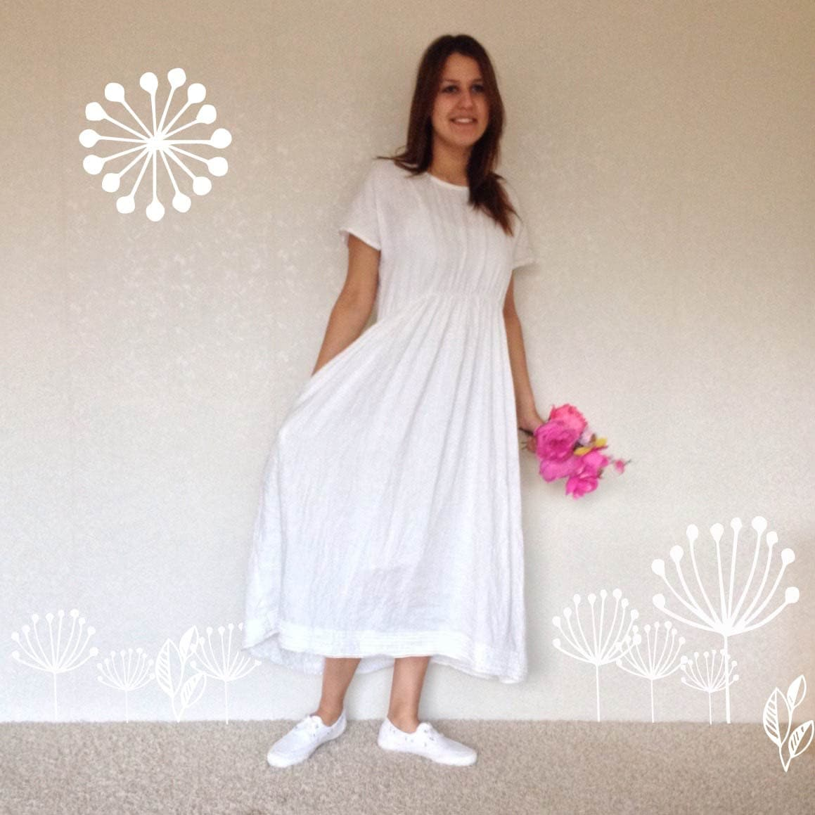 White Linen Dress with Sleeves Light Linen Summer Dress with