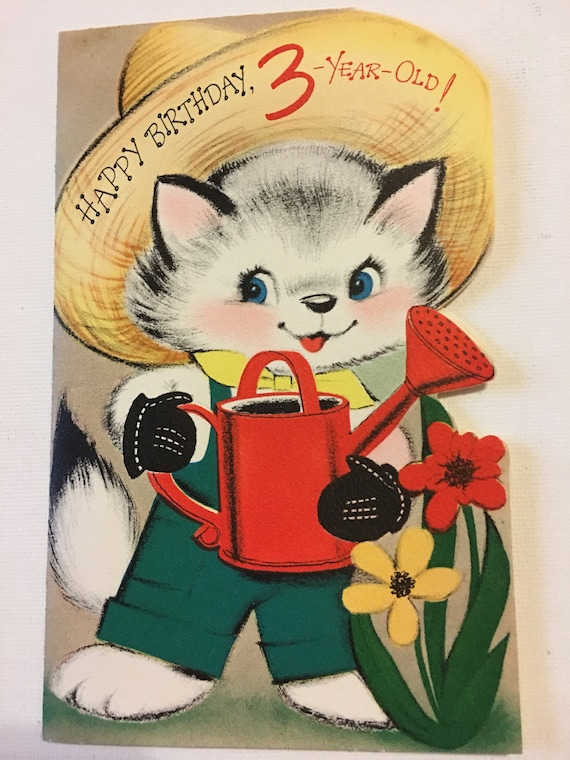 Vintage Birthday Card Three Year Old Kitten Farmer Watering Etsy