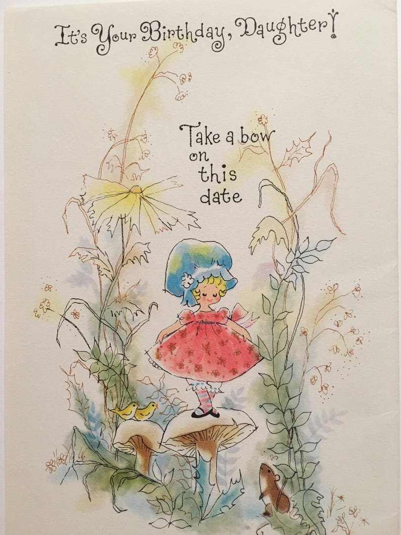 Birthday Card Daughter Vintage Whimsical NOS 1960s