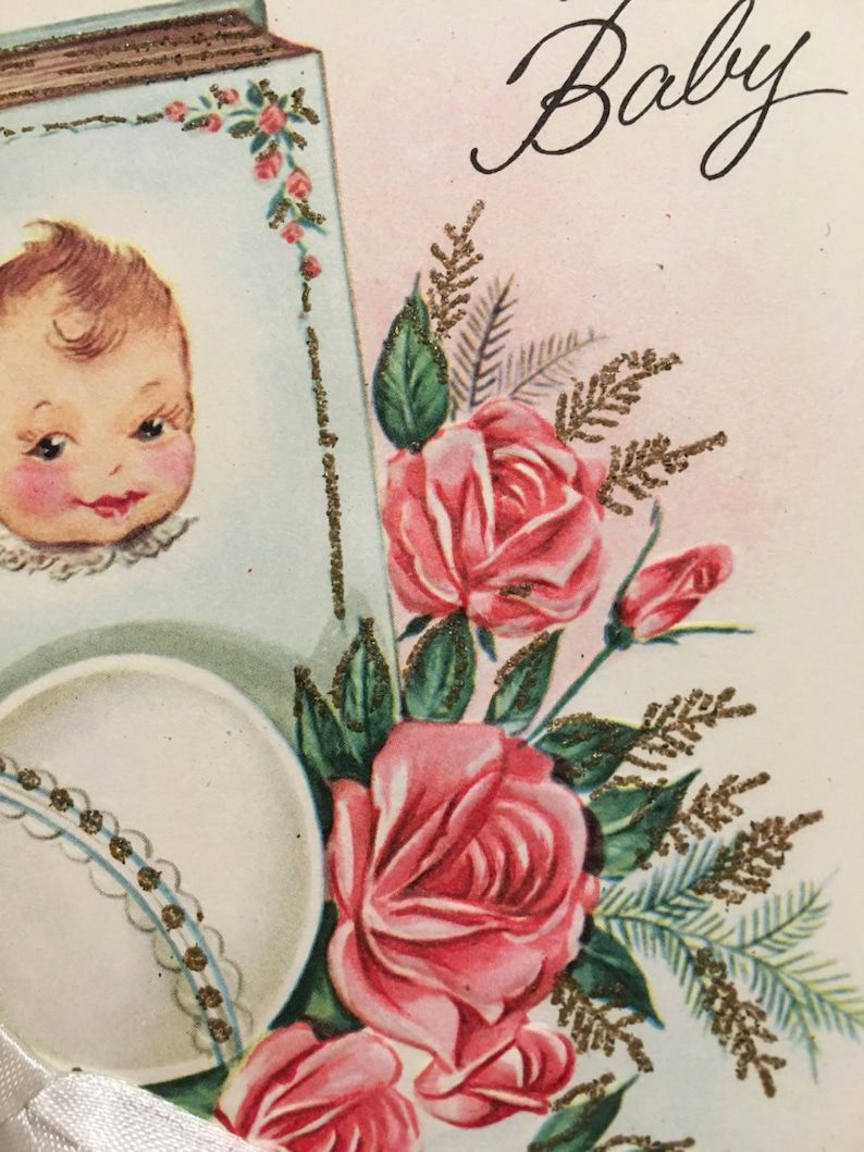 Glitter Vintage Baby Card NOS Mid Century Best Wishes For You /& Your Baby