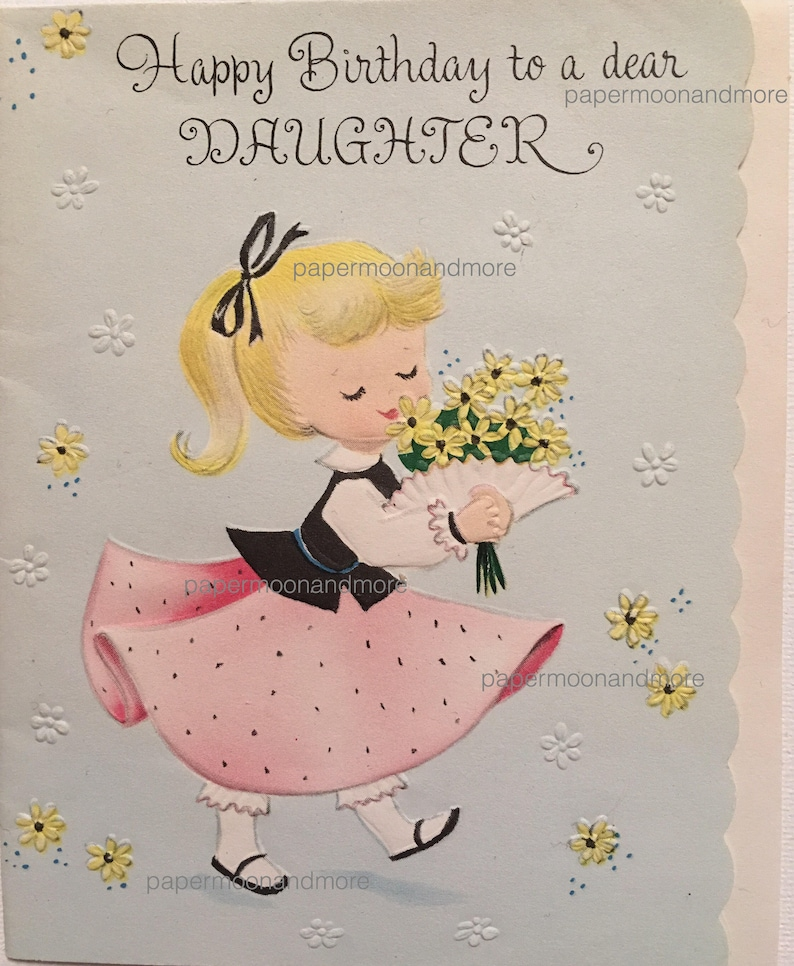Vintage Birthday Card Daughter Agua And Pink Cats 1950s