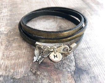 Personalize Front closure Side By Side Or Miles Apart We Are Sisters . 756 Boho LEATHER Wrap Bracelet Gift For Her Charm Bracelet