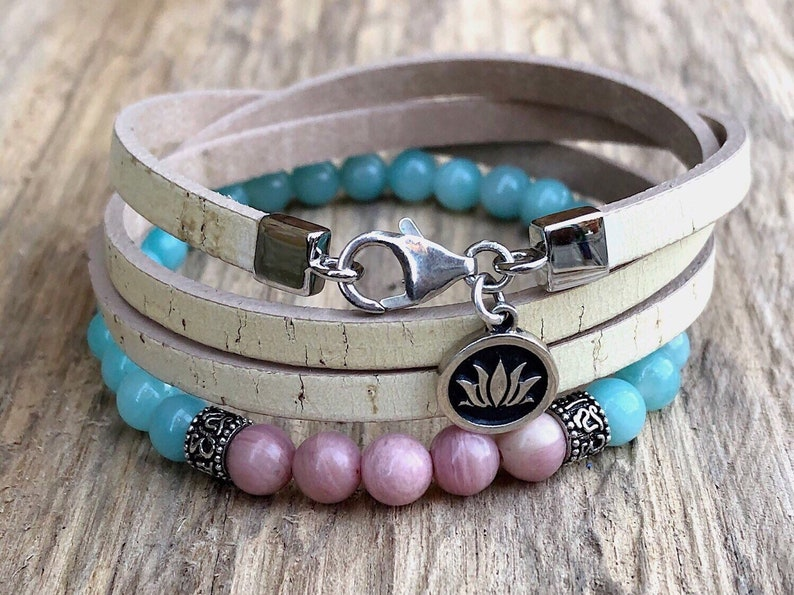 Triple Wrap Beige Cork Bracelet Natural Cork and Sterling Silver Lotus Flower Charm Bracelet For Her Womens Sustainable Jewellery