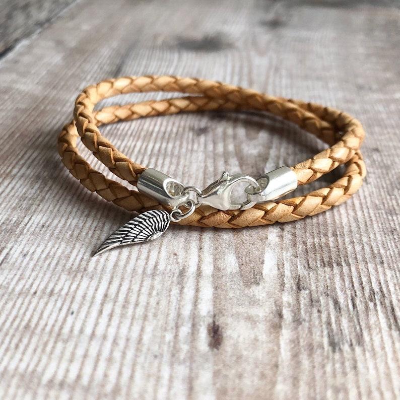 Angel Wing Jewellery Angel Wing Bracelet unisex gift Sterling Silver /& Leather Bracelet Braided Leather Bracelet