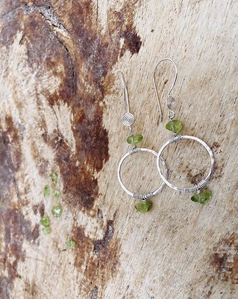 Natural Gemstone Earrings August Birthstone Gift For Women Peridot Nuggets and Sterling Silver Earrings Wire Wrap Beaded Earrings