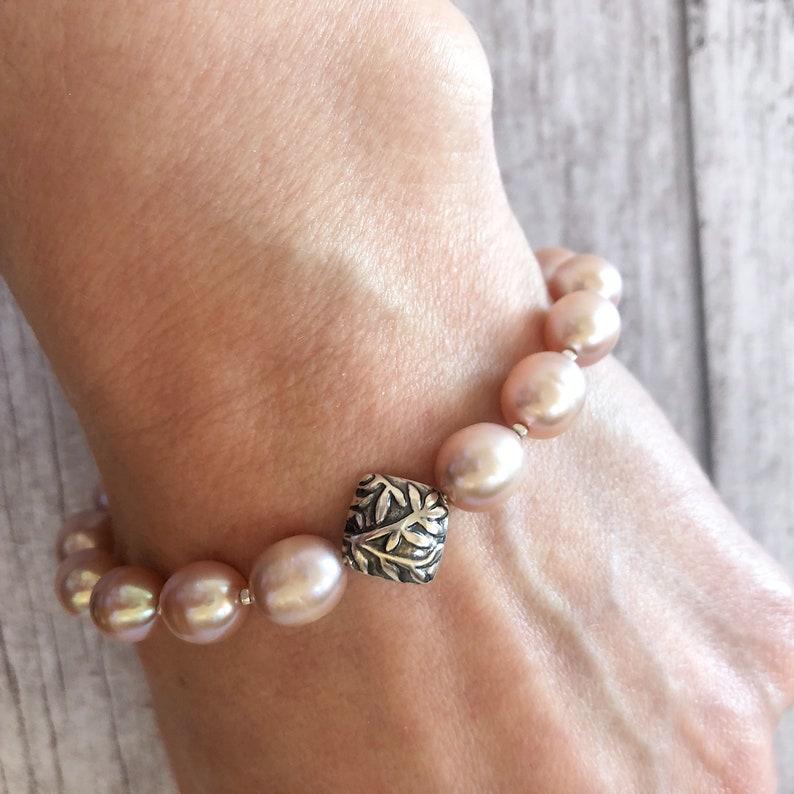 Pearl Jewellery Pink Pearls Bracelet Freshwater Pearls Bracelet Sterling Silver /& Pearls Bracelet Pearls Beaded Bracelet