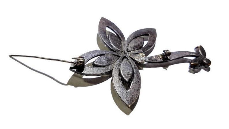 Vintage Black Metal Flower Brooch Marquis Cut Clear Rhinestones AccentsLARGE Vintage BroochCostume JewelryBlack White Brooch1930/'s