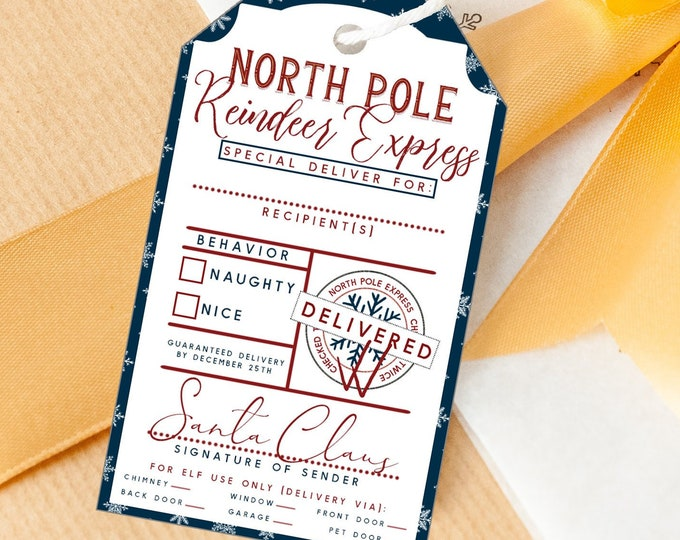 PRINTABLE CHRISTMAS Gift Tags Navy Blue Snowflakes From Santa Claus DIY Naughty or Nice Holiday Reindeer Express Special Delivery for Kids