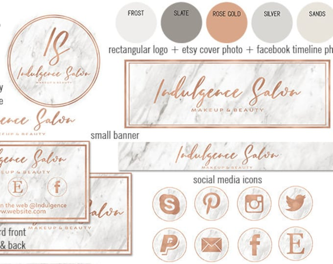 WHITE MARBLE & Rose Gold Modern Branding Kit Package Hand Lettered Font Etsy Shop Set Cover Photo Chic Logo Business Card Social Media Icon