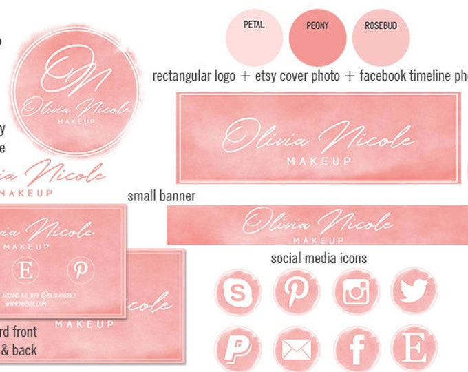 PEACH WATERCOLOR Etsy Shop Set Modern Branding Package Minimal Girl Boss Cover Photo Banner Logo Business Card Social Media Icons Facebook