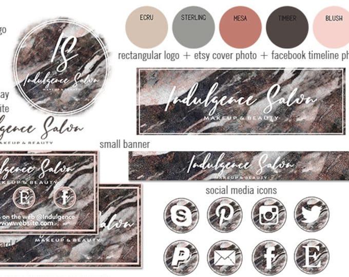 RUSTIC MARBLED WOOD Branding Kit Hand Lettered Font Modern Etsy Shop Set Cover Photo Girl Boss Logo Business Card Social Media Icons Sticker