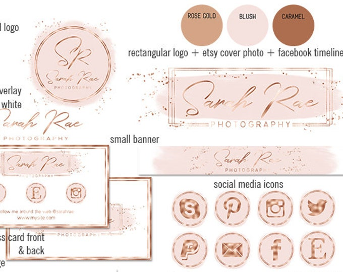 BLUSH PINK & Rose Gold Etsy Shop Set Modern Branding Kit Watercolor Brush Strokes Cover Photo Banner Logo Business Card Social Media Icons