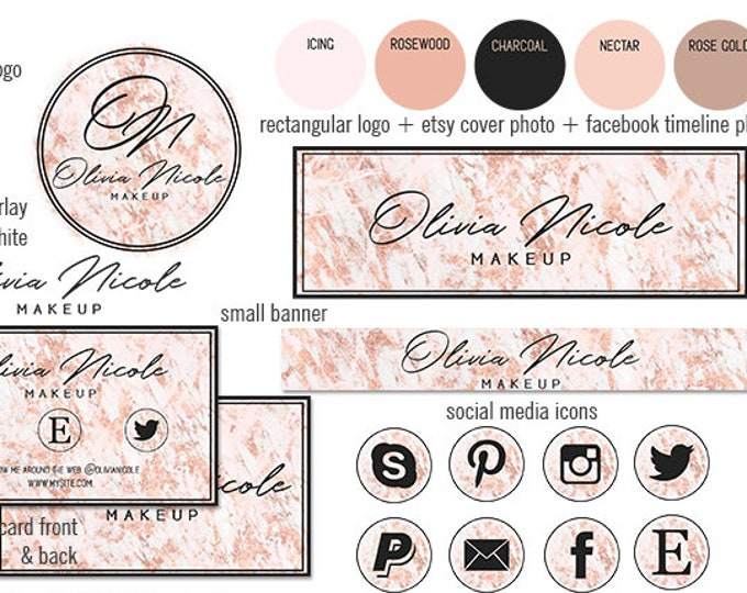 ROSE GOLD MARBLE Modern Branding Package Chic Girl Boss Etsy Shop Set Cover Photo Banner Girly Logo Business Card Social Media Icon Facebook
