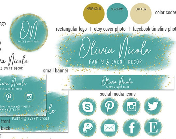 MODERN BRANDING PACKAGE Etsy Shop Set Metallic Gold Watercolor Paint Stroke Cover Photo Banner Logo Business Card Social Media Icon Facebook