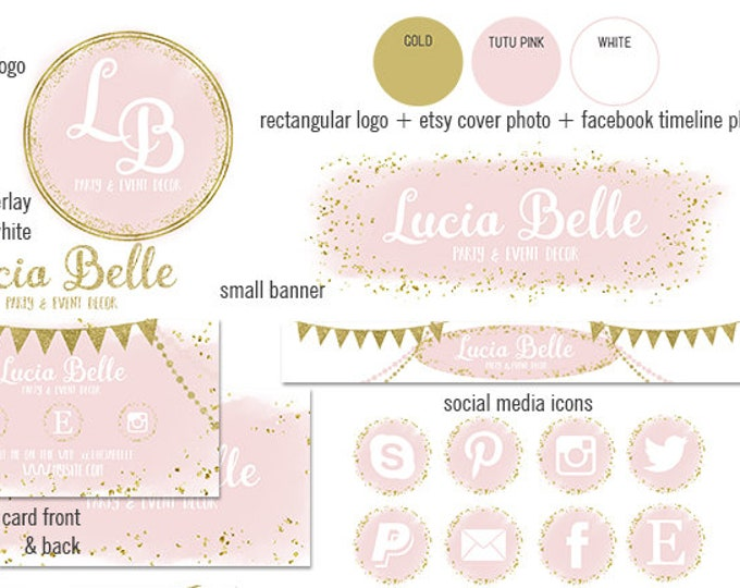 BLUSH PINK & GOLD Confetti Etsy Shop Set Party Branding Package Watercolor Cover Photo Banner Logo Business Card Social Media Icons Facebook