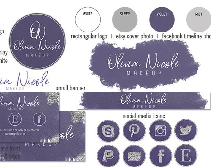 ULTRA VIOLET PURPLE Etsy Shop Set Modern Branding Package Watercolor Paint Cover Photo Banner Logo Business Card Social Media Icons Facebook