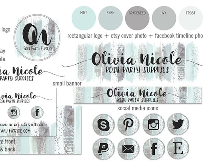 MINT GREEN Watercolor Brush Strokes Modern Branding Kit Package Aqua Cover Photo Etsy Shop Set Banner Logo Business Card Social Media Icons