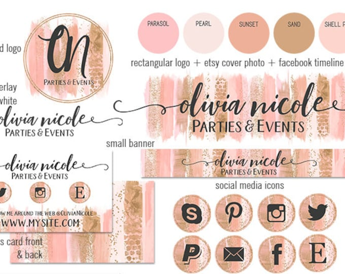 PEACH & ROSE GOLD Modern Branding Package Cover Photo Etsy Shop Set Banner Logo Business Card Social Media Icons Watercolor Brush Strokes